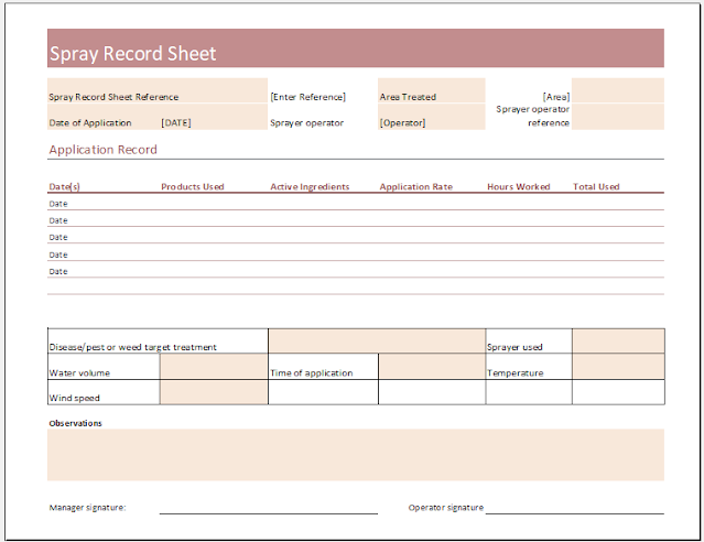 Spray Record Sheet Template for Excel