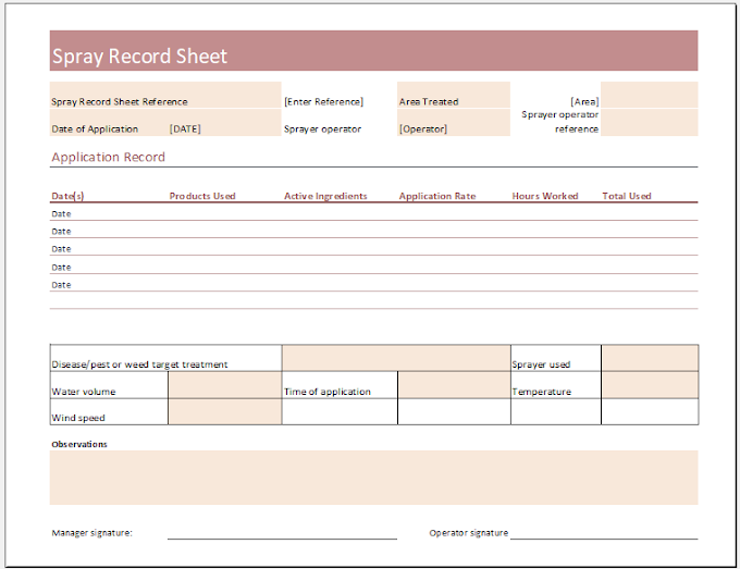Spray Record Sheet Template for Excel XLS Free Download