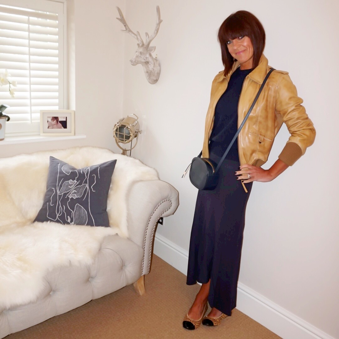 my midlife fashion, massimo dutti tan leather biker jacket, marks and spencer pure cashmere crew neck jumper, marks and spencer maxi skirt, cocorose london harrow cheetah print ballet pumps, iris and ink leather shoulder bag