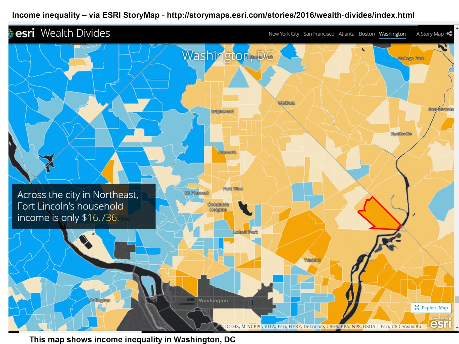 Mapping For Justice Income Inequality in Cities Using ESRI StoryMap