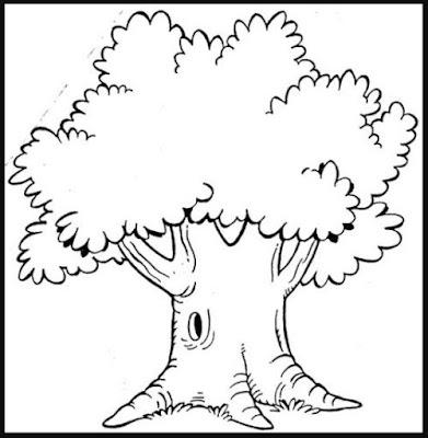 Gambar Sketsa Pohon Kartun Besar