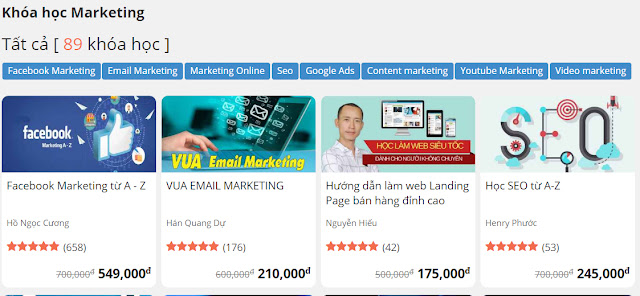Học Kiếm tiền đỉnh cao với Facebook Marketing, Học SEO từ A đến Z, Vua Email Marketing