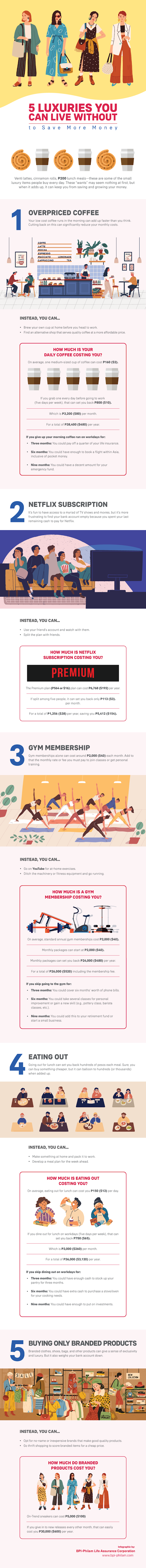 5 Luxuries You Can Live Without To Save More Money #infographic