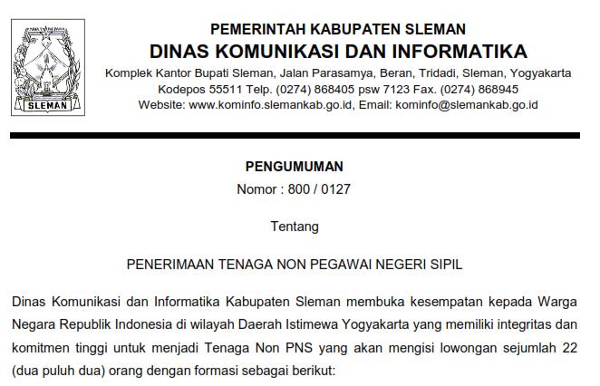 Penerimaan Tenaga Non Pns Dinas Komunikasi Dan Informatika Kabupaten Sleman Rekrutmen Dan Lowongan Kerja Bulan Januari 2021