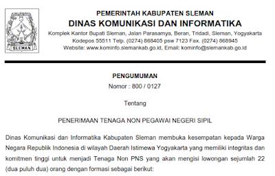 Penerimaan Tenaga Non PNS Dinas Komunikasi dan Informatika Kabupaten Sleman
