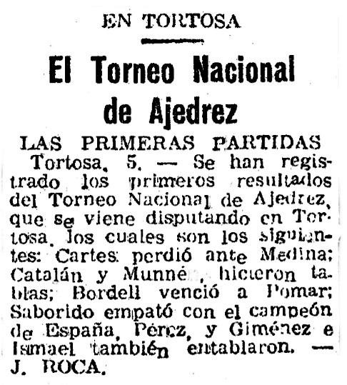 I Torneo Nacional de Ajedrez de Tortosa 1948, recorte de El Mundo Deportivo