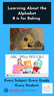Learning About the Alphabet: B is for Baking; mixing ingredients; SchoolhouseTeachers.com course logo
