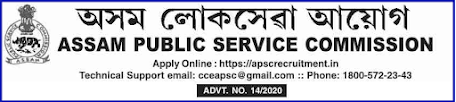 APSC Recruitment Notice 2021 for Development Officer,JE & Dairy Officer