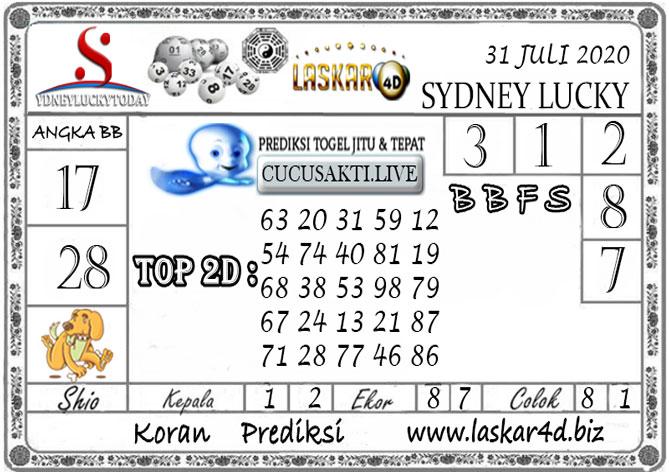 Prediksi Sydney Lucky Today LASKAR4D 31 JULI 2020