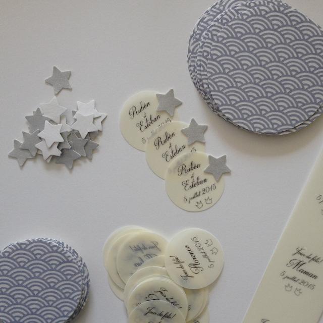 faire-part de naissance chic graphique cadeau invité ruban papier japonais sur mesure raffiné fait main haut de gamme atelier fleur de pommier