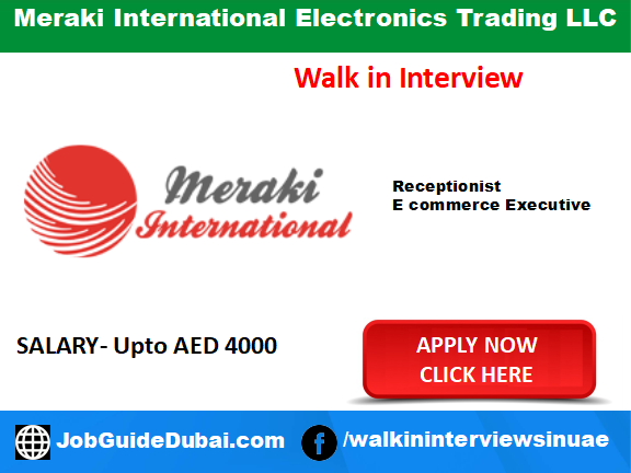Job in Dubai for Receptionist and E commerce executive