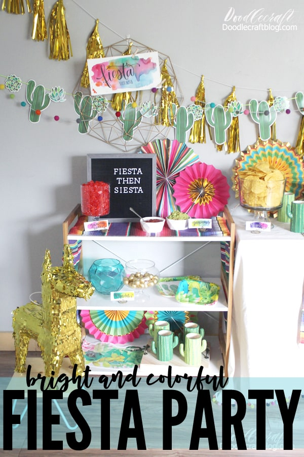Hostess the perfect Fiesta party with supplies and decor from Oriental Trading with personal touches of watercolor and letterboard signs.
