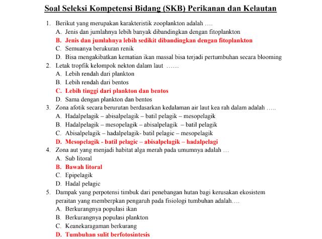 Materi Soal SKB Perikanan dan Kelautan CPNS 2020 (Seleksi Kompetensi Bidang)