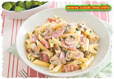 Ham and mushrooms sauce