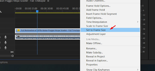 cara mengatasi Mengatasi Video Tidak Full Screen Dengan Set to Frame Size di adobe premiere