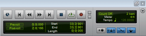 The Pro Tools Transport With Count Off Disabled