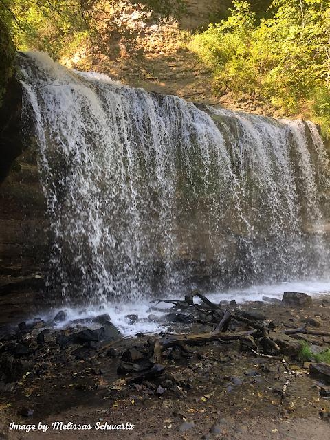 Neat peek from the side of Cascade Falls in Wilke Glen of Osceola, Wisconsin.