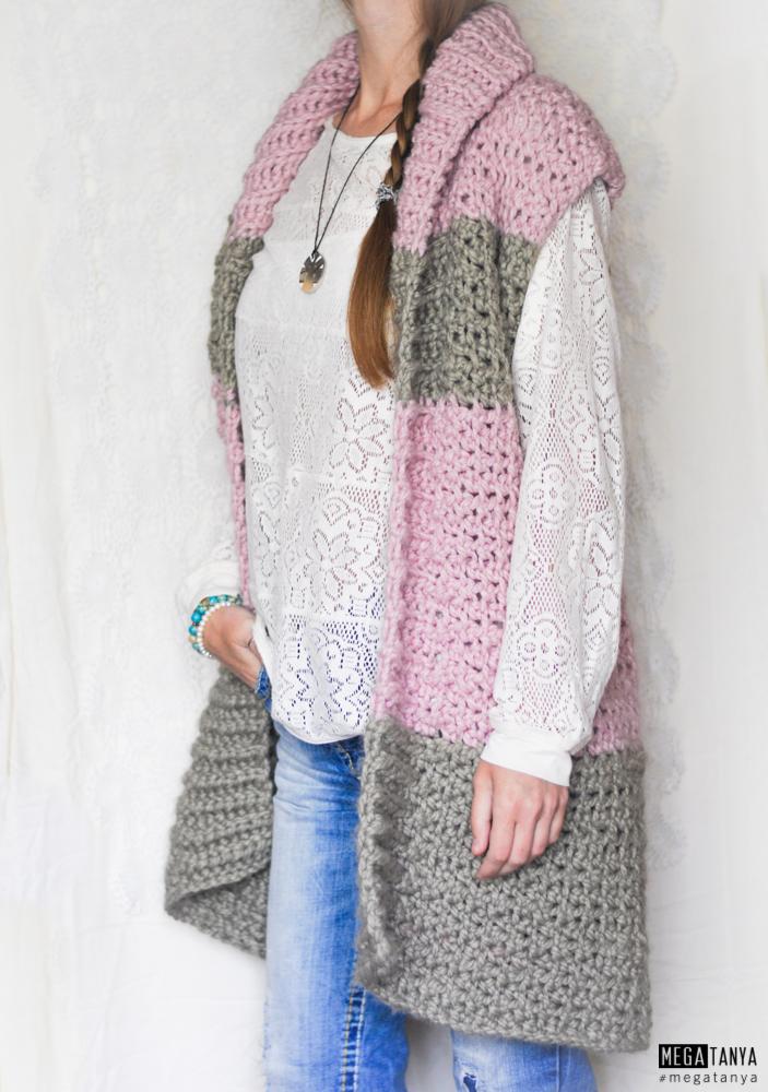 crochet vest oversize
