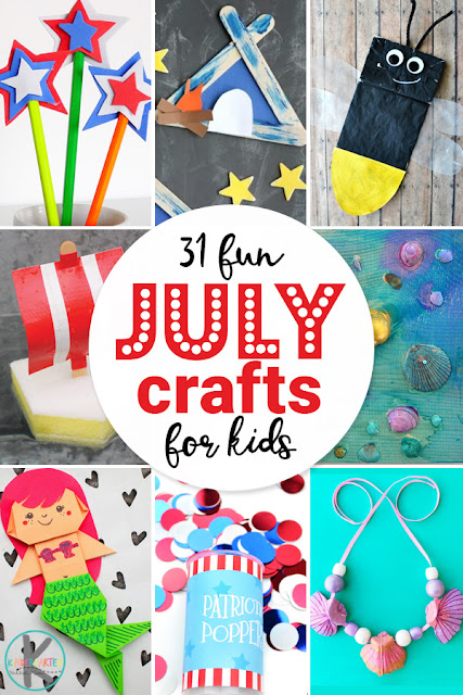 31 July Crafts for Kids - so many really cute and fun crafts! These summer crafts include mermaids, sea shells, 4th of July crafts, independence day crafts, camping, bugs, boats, and more for your summer bucket list. #craftsforkids #preschool #kindergarten