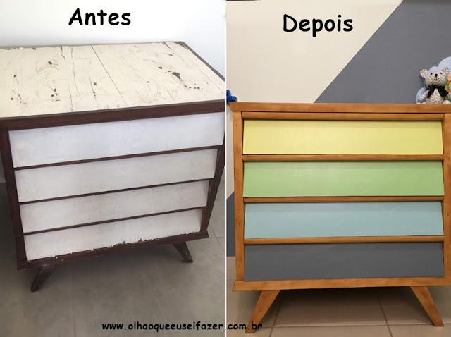 antes e depois de cômoda antiga