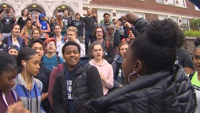 Dozens of students, teachers hold protest to demand justice for pregnant African American woman Charleena Lyles