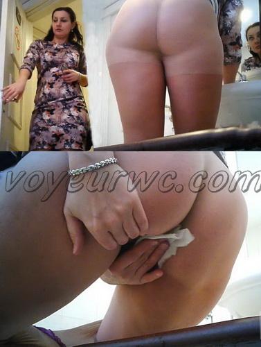 WC 2383-2387 (Girls peeing on hidden voyeur camera: Pissing in the toilet of public restaurant)