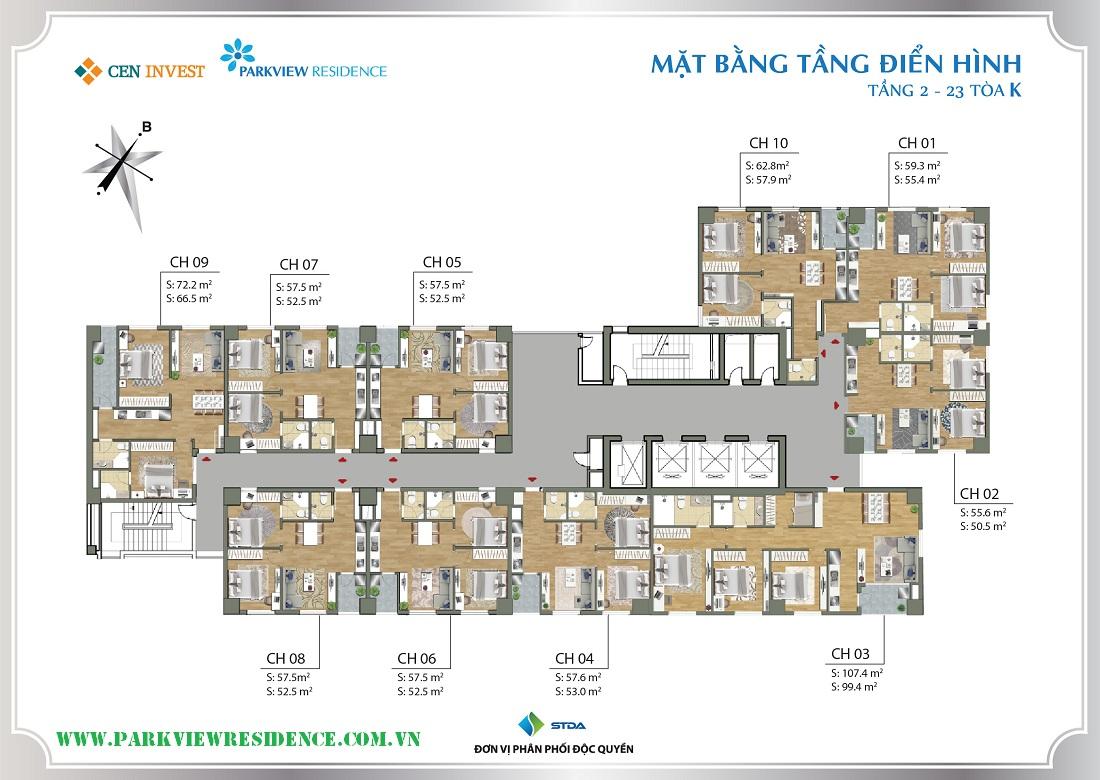 Thiết kế mặt bằng chung cư Parkview Residence (Tòa K)