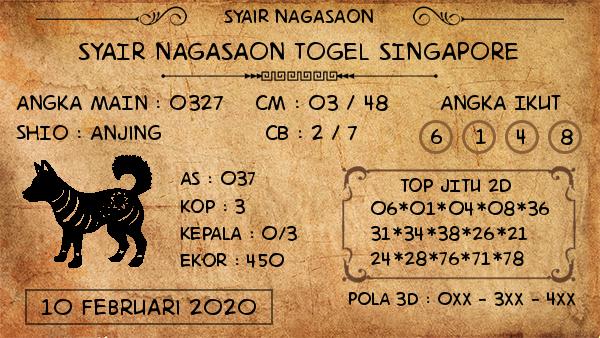 Prediksi Nagasaon Singapura Senin 10 Februari 2020