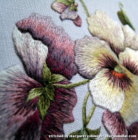 Detail of thread painted pansies (design by Trish Burr)