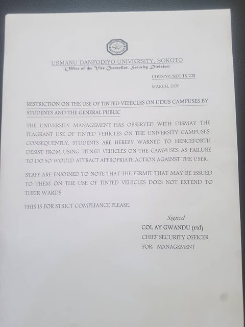 UDUSOK Bans Use of Tinted Vehicles in Campus