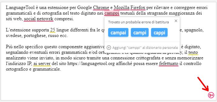 LanguageTool popup con suggerimenti correzione errore ortografia e grammaticale