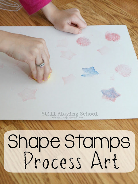 Teach kids shapes with this process art invitation to create!
