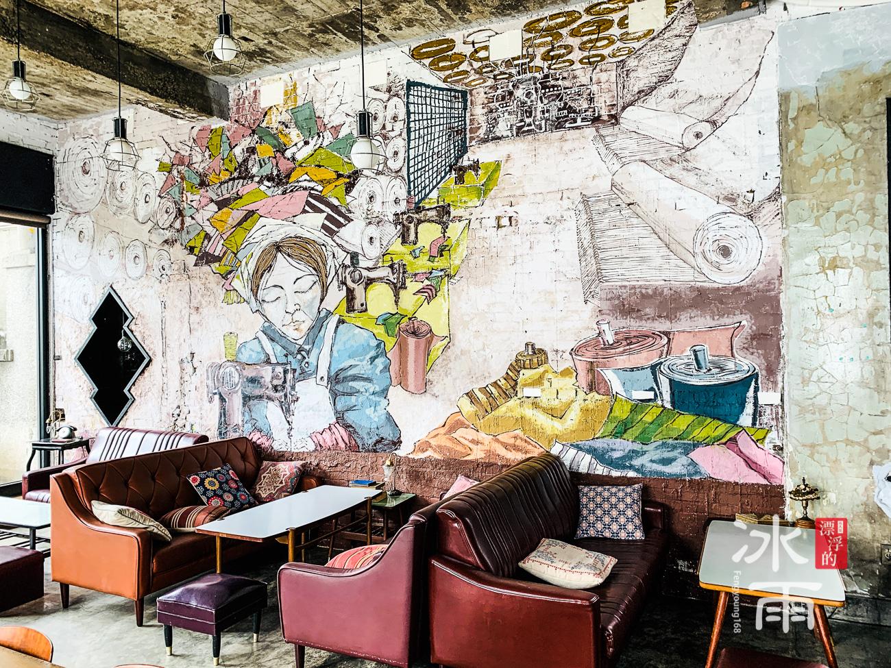 非常精緻的牆面手繪風格壁畫,在這個空間內畫龍點睛。