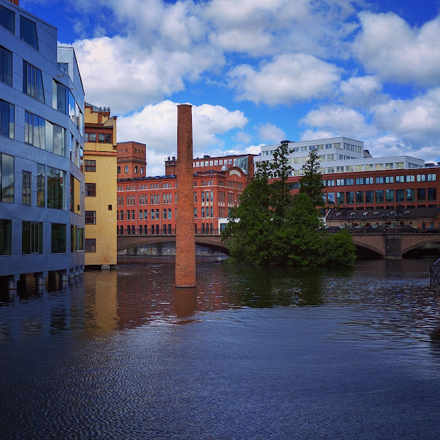 Submerged smokestack art in the industrial quarter of Norrköping, Sweden