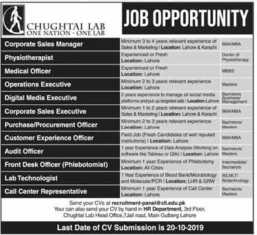 Jobs in Chughtai Lab Lahore