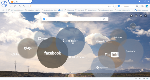 home page screen uc browsers