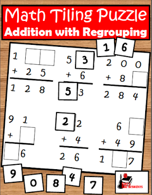 Free addition with regrouping math tiling puzzle from Raki's Rad Resources.