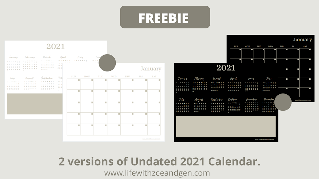 Free Undated 2021 Monthly Calendar Printable by LifewithZG. l Bullet journaling l Bujo PH