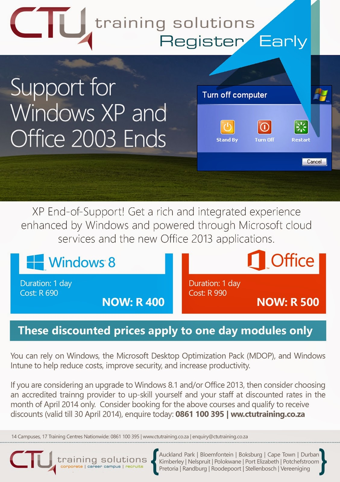 Support for Windows XP and Office 2003 ends | CTU Training