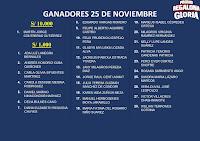 GANADORES LA PROMO REGALONA GLORIA 25 DE NOVIEMBRE
