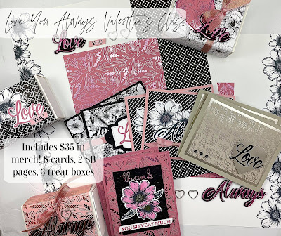 Love You Always Valentine's Class to go.  Uses Stampin' Up!'s Forever & Always Bundle by Stampin' Up!.  Includes $35 in merch!  You'll make: 8 cards, 3 boxes, 2 12x12 pages.  #StampTherapist #StampinUp