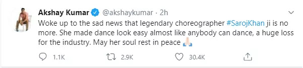Bollywood Choreographer Saroj Khan (Master Ji) passes away