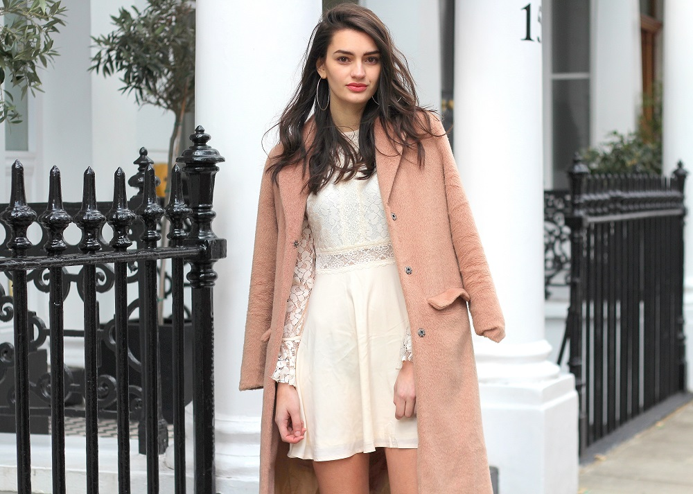 fashion blogger peexo pink coat lace dress