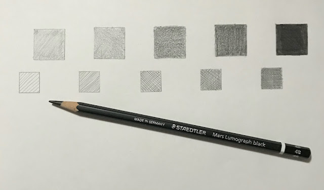 Hatching and shading to show value changes with a Mars Lumograph Black 4B pencil on white paper, artist Linzé Brandon