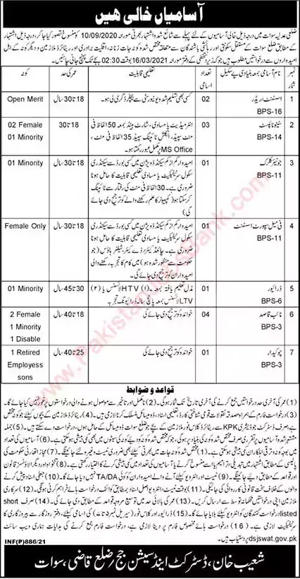 Latest Jobs in Pakistan District and Session Court Swat Jobs 2021