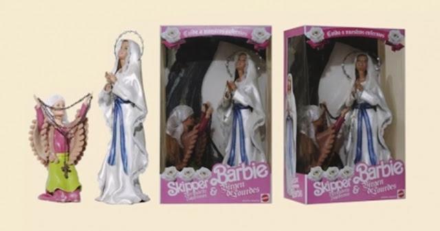 bonecas barbie modificadas, bonecas personalizadas, bonecas barbie religiosas, barbie baphomet, boneca barbie baphomet, boneca virgem de lourdes