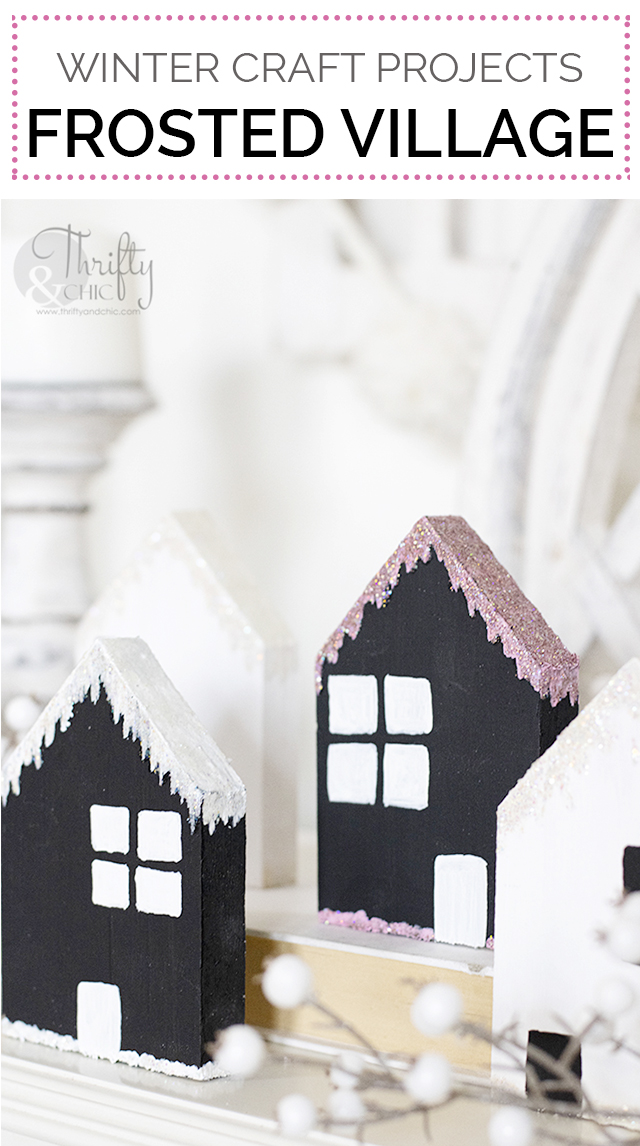 diy winter decor. Easy winter craft projects. Diy frosted winter village. DIY craft houses. Glitter craft ideas. Decorate after christmas ideas.