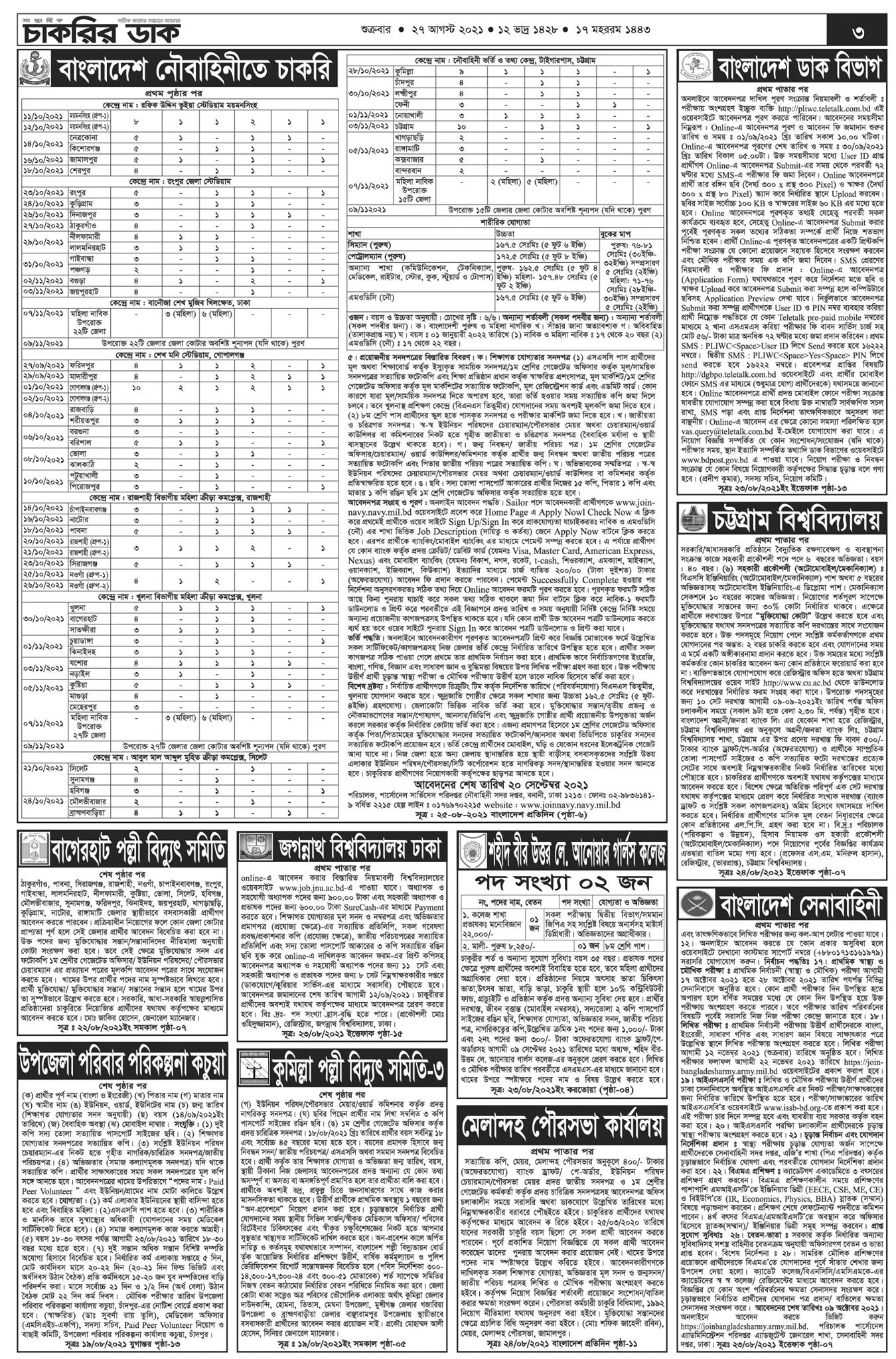 Saptahik Chakrir Dak 27 August 2021 PDF Download