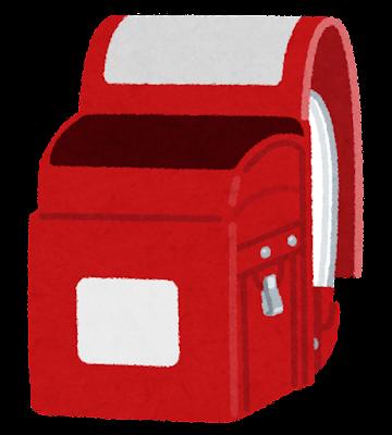 空の赤いランドセルのイラスト