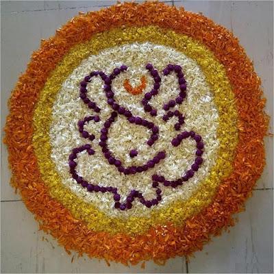 Best Floral Rangoli for Onam Festival